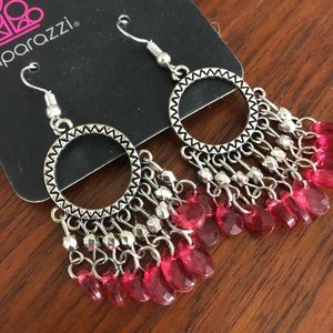 paparazzi Jewelry - Pink and Silver Circle Dangle Fishhook Earrings